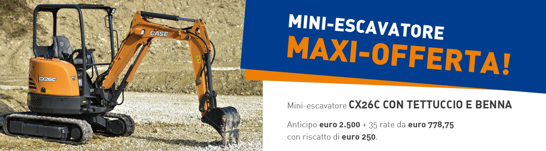 Maxi Offerta su CX 26 C con tettuccio e benna